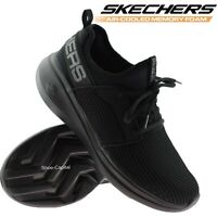 WOMENS SKECHERS BLACK MEMORY FOAM WALKING WORK LACE UP GYM TRAINERS SHOES SIZE