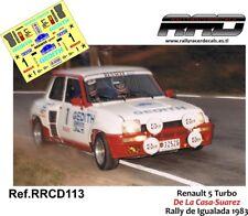 DECAL/CALCA 1/43; Renault 5 Turbo; De La Casa-Suarez; Rally de Igualada 1983