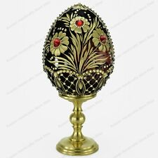 """5"""" GLASS EGG """" FLOWER BASKET"""" ENGRAVED S-PETERSBURG RUSSIA TRADITIONS OF FABERGE"""