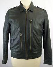 All Saints Men's Black Distressed Leather W/ Asymmetric Zip Pockets Jacket SZ XL