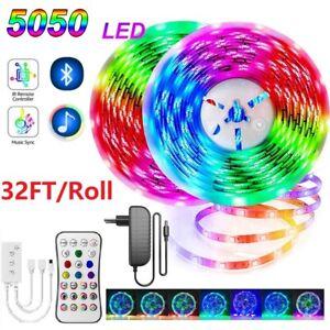 65ft 10m/roll Led Strip Lights Music Sync 5050 Mic App Bluetooth Remote Control