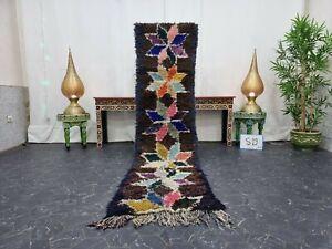 Moroccan Handmade Vintage Runner Rug 2'x8' Berber Floral Brown Blue Carpet