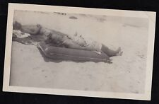 Antique Photograph Man w/ Woman Laying on Raft in Sand on the Beach - Sunbathing