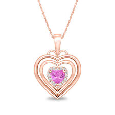 Women's 0.68 ct Hearts Shape Pink Sapphire Pendant 18' Necklace 14k Rose Gold Fn