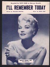 I'll Remember Today 1957 Patti Page Sheet Music