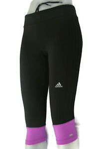 Adidas Running Tights Skinny Yoga Crop Pants Sz M Black Magenta w Drawstring