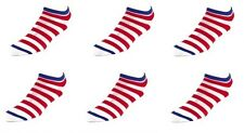 6 Pack Womens FootJoy Golf Striped Colored Low Cut Ankle Socks Red White Blue