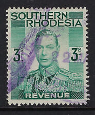 SOUTHERN RHODESIA: 1937 GVI  3/- Revenue stamp  BFT18 used