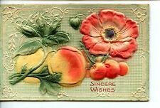Felt Fruit & Flower Novelty Embossed Sincere Wishes Vintage Greeting Postcard
