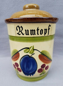 Rumtopf Früchtetopf Rumpott Bowletopf mit Deckel Keramik Steinzeug alt 5 Liter