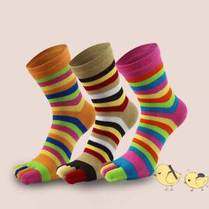 Women Men Colorful Stripe Toe Socks Cotton Five Finger Ankle Sock Hosiery Winter