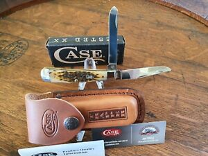 Case Knife Large Trapper Amber Bone in Box with Sheath.