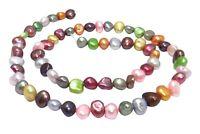 😏 Süßwasserperlen multicolor Nuggets ~ 6-8 mm bunter Farbenmix Perlen Strang 😉