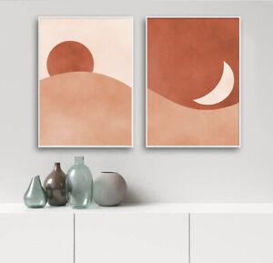 Moon Sun Desert Abstract Landscape Painting Boho Style Print Modern Home Decor