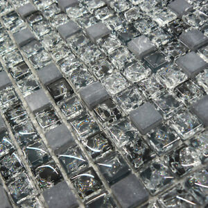 Glass & Black Marble Squares Mosaic Tiles Sheet For Walls And Floors