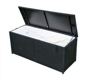 XXL Aufbewahrungsbox Polyrattan Gartentruhe Auflagenbox Kissenbox Neu Schwarz