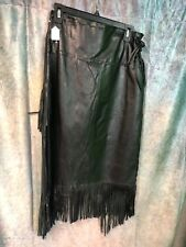 New J4 West Leather Lambskin black Western Cowgirl Skirt Size 2XL with Fringe
