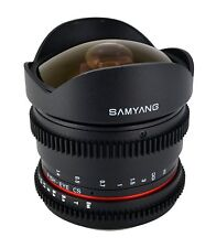 Samyang 8mm T3.8  Fisheye Cine Lens for DSLR Video w/ De-clicked Apertere -Nikon