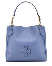 NWT TORY BURCH HARPER CENTER ZIP TOTE LARGE SHOULDER HANDBAG WILLIS BLUE