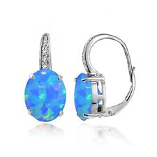 Sterling Silver Created Blue Opal and White Topaz Oval Leverback Earrings
