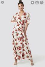 BNWT MANGO FLORAL MAXI WRAP WHITE RED DRESS SIZE S 8 10