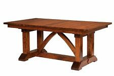 Amish Farmhouse Trestle Dining Table Rectangle Solid Wood Rustic Bostonian