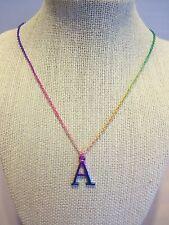 "16 "" Adjustable Rainbow Colors Metallic Necklace w. Letter ""A"" Pendant"