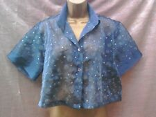 Cache Cache Bleu Organza Shrug Cover Up Top Taille 16 argent broderie Parti