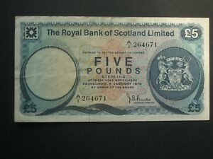 ***Collectable  1st Issue RBOS  A/1** Crisp  £5 'VF' 1972 Banknote***