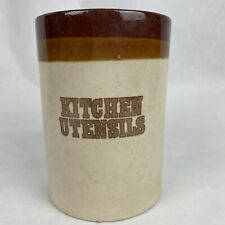 "Vintage HiMark Brand ""Kitchen Utensils"" Crock Brown"