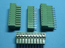10 pcs Pitch 3.5mm 10way/pin Screw Terminal Block Connector Green Pluggable Type