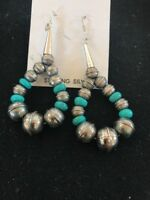 Native American Sterling Silver Stamped  Navajo Pearls Turquoise Bead Earrings