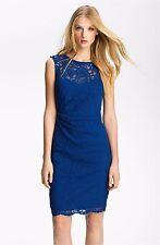 NWT! $175 Xscape Blue Illusion Yoke Lace Sheath Dress [SZ 6] #e68