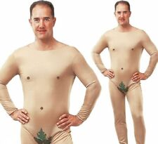 Mens Naked Man Adam Eve Stag Do Fig Leaf Jumpsuit Fancy Dress Costume Adults