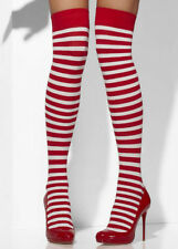 Womens Red and White Striped Stockings