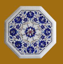 "15"" Marble Table Decorative Lapis Semi Precious Stone Handmade Home Decor Gift"
