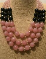 Womens Statement Long Big Large Navy Pink Bead Beaded Necklace Wedding Party Uk