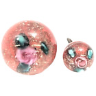 Paperweight Button Pink Rose Glass Mother Daughter Gold Flakes Sparkle Shank SM