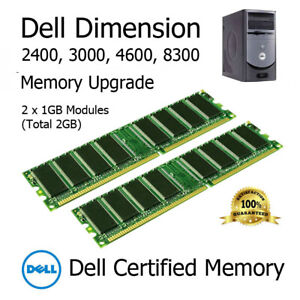 2GB Kit DDR1 Memory Upgrade for Dell Dimension 2400 3000 4600 8300 PC3200 400MHz