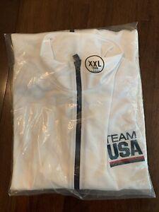 NEW Olympic Team USA White Jacket Full Zip Lightweight Fleece Lined Men's 2XL#1A