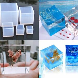4Pcs/Set Crystal Epoxy Resin Mold Square Jewelry Casting Silicone Mold DIY Tool
