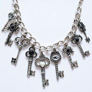 Handmade Silver Tone Metal Vintage Skeleton Key Necklace Truly Unique Statement