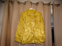 CHICOS CHICO'S 0 size small 4 chartreuse green silk top shirt SEE OTHERS