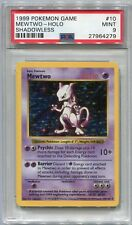 Pokemon Card Unlimited Shadowless Mewtwo Base Set 10/102, PSA 9 Mint