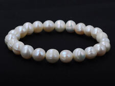 Fake Freshwater Pearl Strand Pearl Bracelet Pure White Stretch Bridal Bangle NE