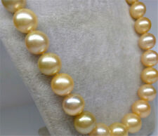 gorgeous 11-12 mm south sea gold pearl necklace 20 inch 14k
