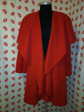 """Vintage American Red Wool Swing Coat with Cape Collar Size 10 - 16 / 44"""" Bust"""