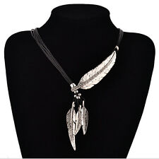 Fashion Leaf Crystal Chunky Statement Bib Tassels Pendant Chain Choker Necklace