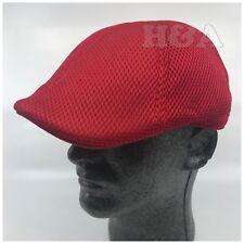Duckbill Newsboy Cabbie Gatsby Solid Mesh Ventair Crochet Golf Ivy Hat Cap Red