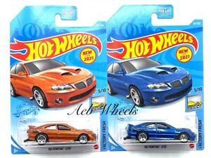 2021 Hot Wheels '06 Pontiac GTO Blue + Orange - Lot of 2 - Factory Fresh
